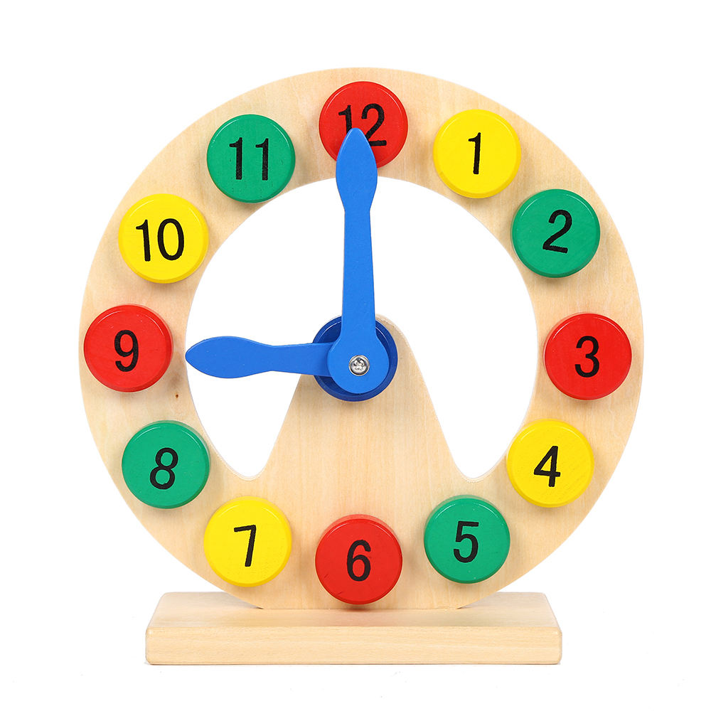 Reliable supplier wooden educational toy time teaching color 12 number clock toys for kid