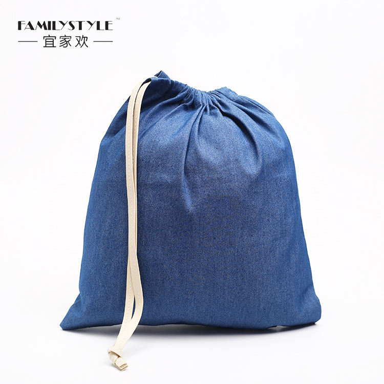 Blue Reusable Denim Laundry Bag Laundry Drawstring Bag