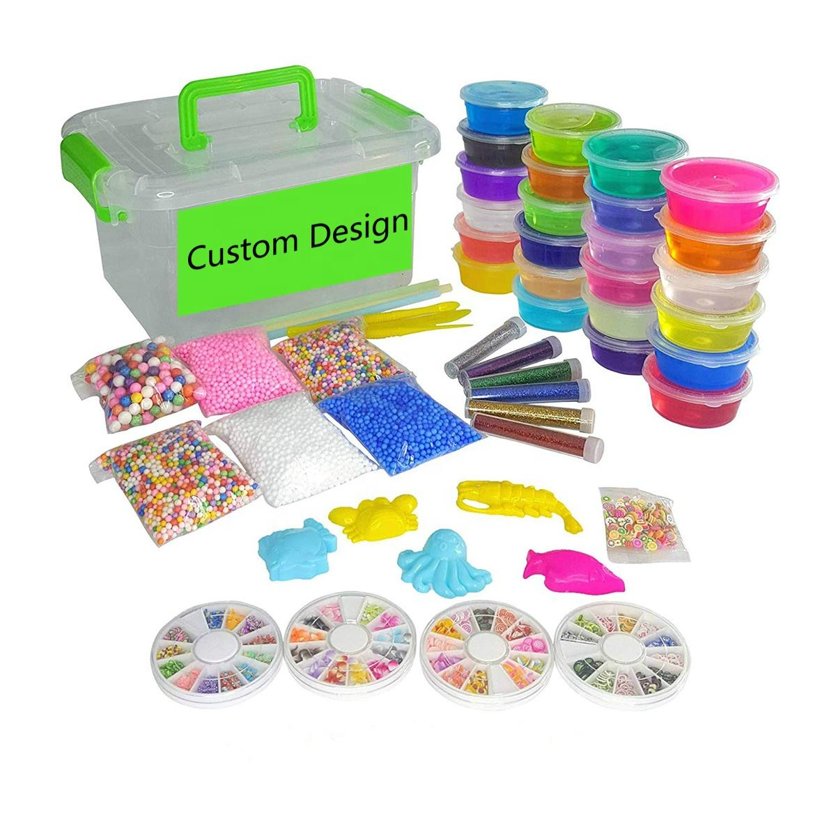 Crystal Slime Making Kit Comes with 24 Colors Slime 6 Colorful Foam Balls 250 Fruit Slice 6 Glitter Shake Jars for Kids Aged 6+