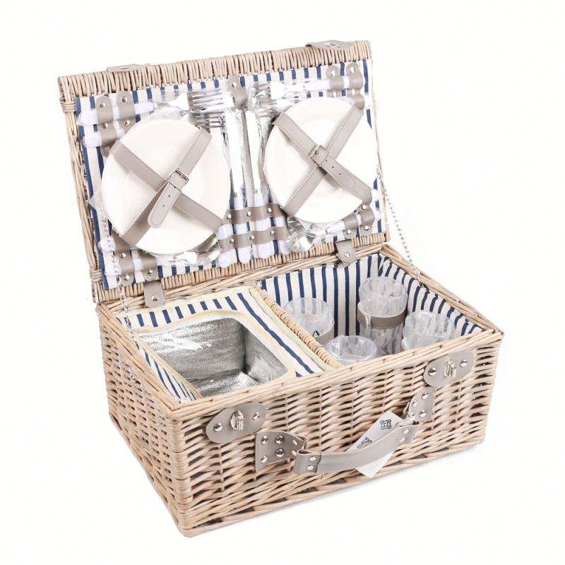 Promotional Mini Cheap Wicker Picnic Basket Set For 2