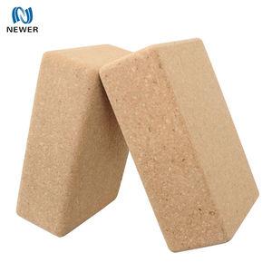 Eco friendly wholesale premium soft yoga adjustable private label custom logo printed natural cork wooden yoga block