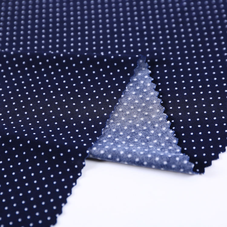 China top supplier hot sale super soft jersey stretch 4% spandex 96% polyester polka dot spandex fabric