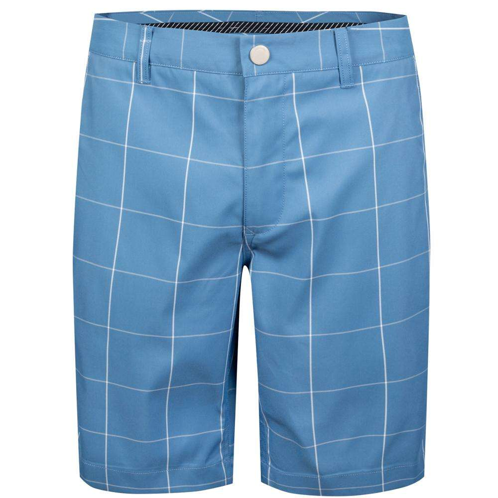 Men's Blue Fashion Grid 100% Polyester Classic-Fit Lightweight Bright Best Mens Golf Shorts