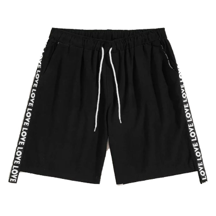 New Summer Cotton Black Mid Waist Custom Letter print Tape Drawstring Sports Gym Man Shorts