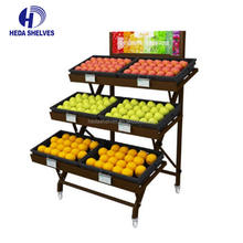 Supermarket store rack fruit and vegetable display shelving
