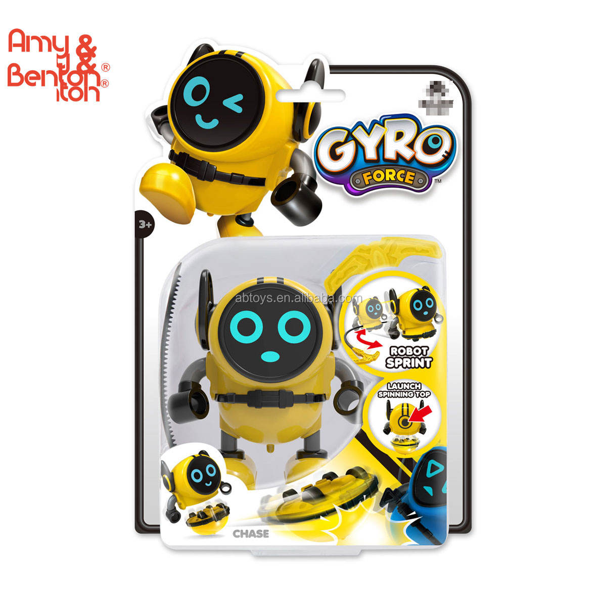 Toys 2019 cute toy yellow robot sprint toy spinning top for wholesale