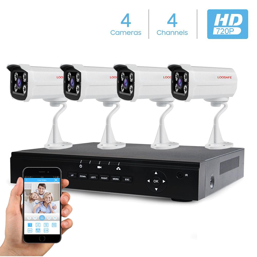 풀 HD 720 마력 Poe 보안 Camera System 4CH 방수 CCTV 총알 카메라 Housing 와 4 개 Poe IP Camera