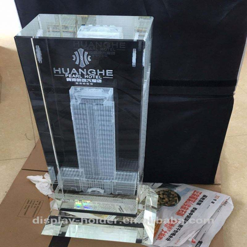 Large 3D laser engraving crystal block trophy packed in gift wood box