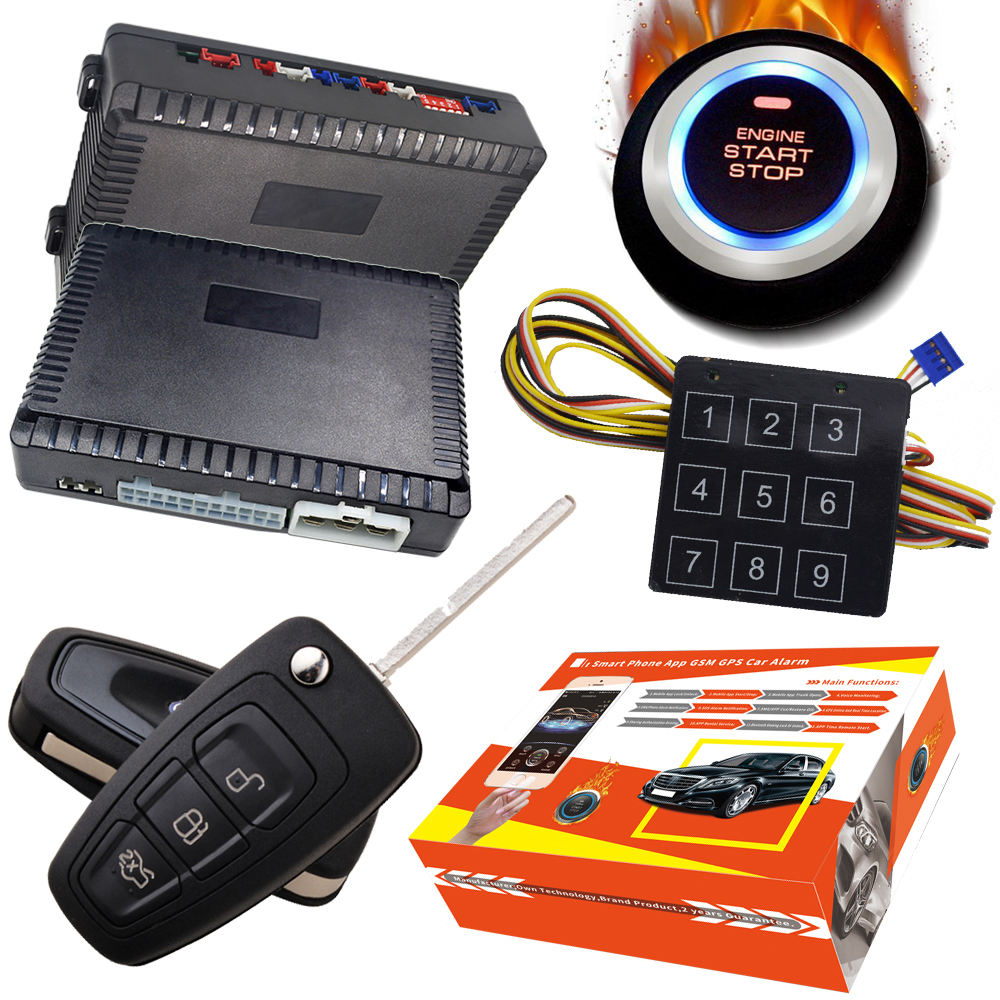 push button start stop GPS GSM tracker manufacturer one way car+alarms