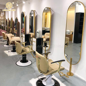 Hou Glass elegant wrought iron design decorative hair salon furniture tempered glass floor standing mirror
