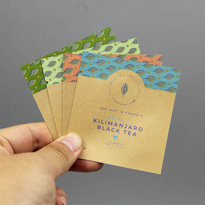 Waterproof biodegradable slimming matcha green tea kraft paper coffee sachet/cosmetic cream sample packaging