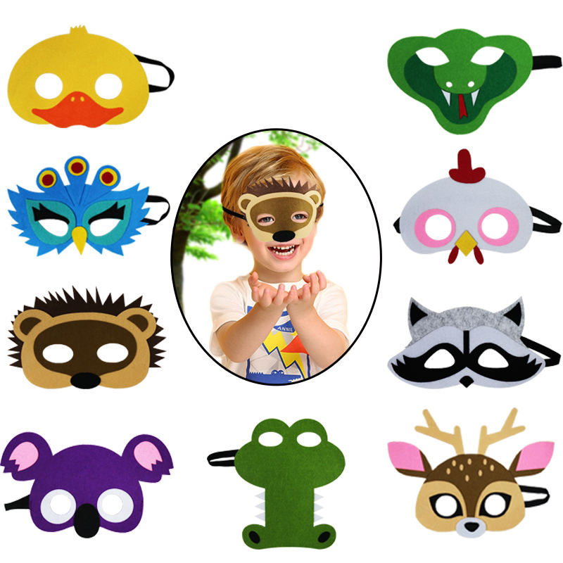 Kids Animal Felt Masks For Boys And Girls Birthday Party Cosplay Halloween Costumes Accessories Customized Christmas Gifts