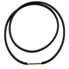 Adjustable Black Environmental Nickel free Rubber Cord Necklace 20inch with stainless steel Clasp
