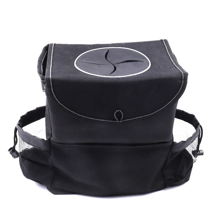 Car Trash Can Hanging Automobile Garbage Bag with Lid and Storage Pockets