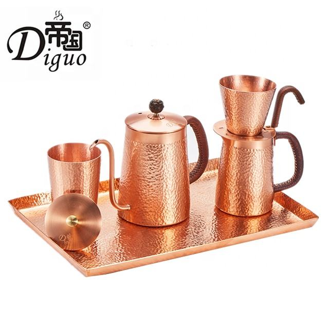 Diguo 2020 Turkish Pour Over Coffee Tea Copper Kettle Set For Coffee Tea