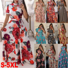 Women's Floral Printed Maxi Dress Short Sleeve Casual Swing Long Maxi Dress with Belt  S-XXXXXL