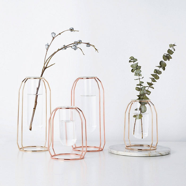 Minimalism Style Crystal Glass Tube Flower Vase in Rose Gold Metal Holder for home Decor Hotel Decor