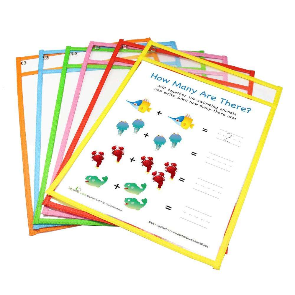 Dry Erase Pockets Reusable Sleeves - Clear Plastic Sheet Paper Protectors, 10 Assorted Colors, Teacher Supplies for Classroom