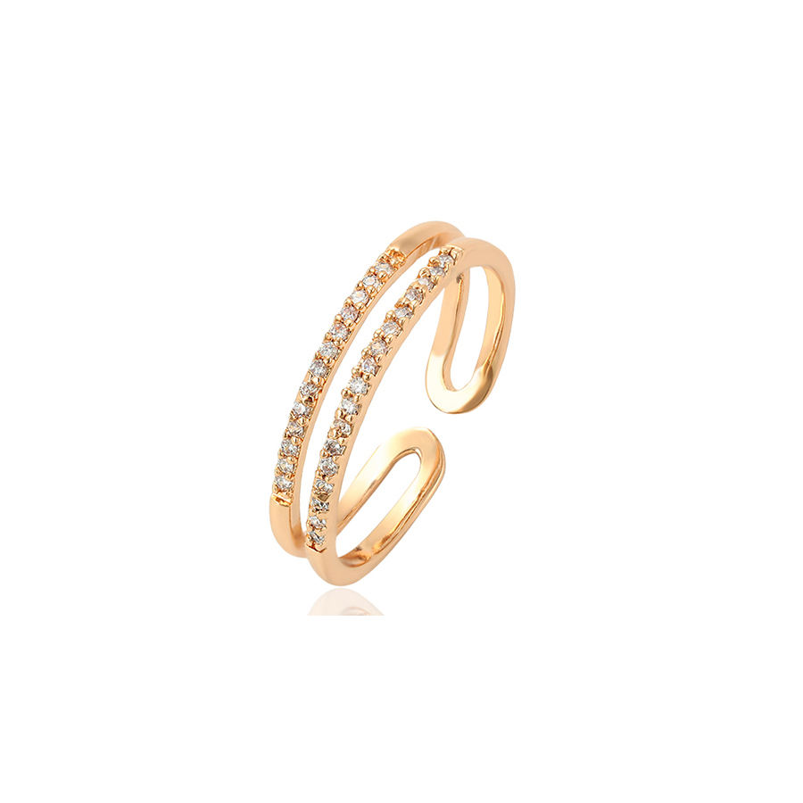 15206 Wholesale simple fine ladies jewelry zircon channel setting adjustable finger ring