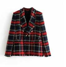 Wholesale Autumn women's fashion plaid multi button suit coat