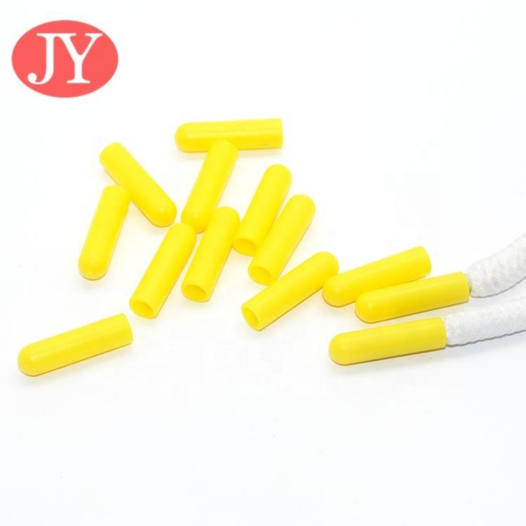Jiayang 20*4.0mm fluorescence yellow plastic aglets 20*4.0mm custom plastic drawcord ends