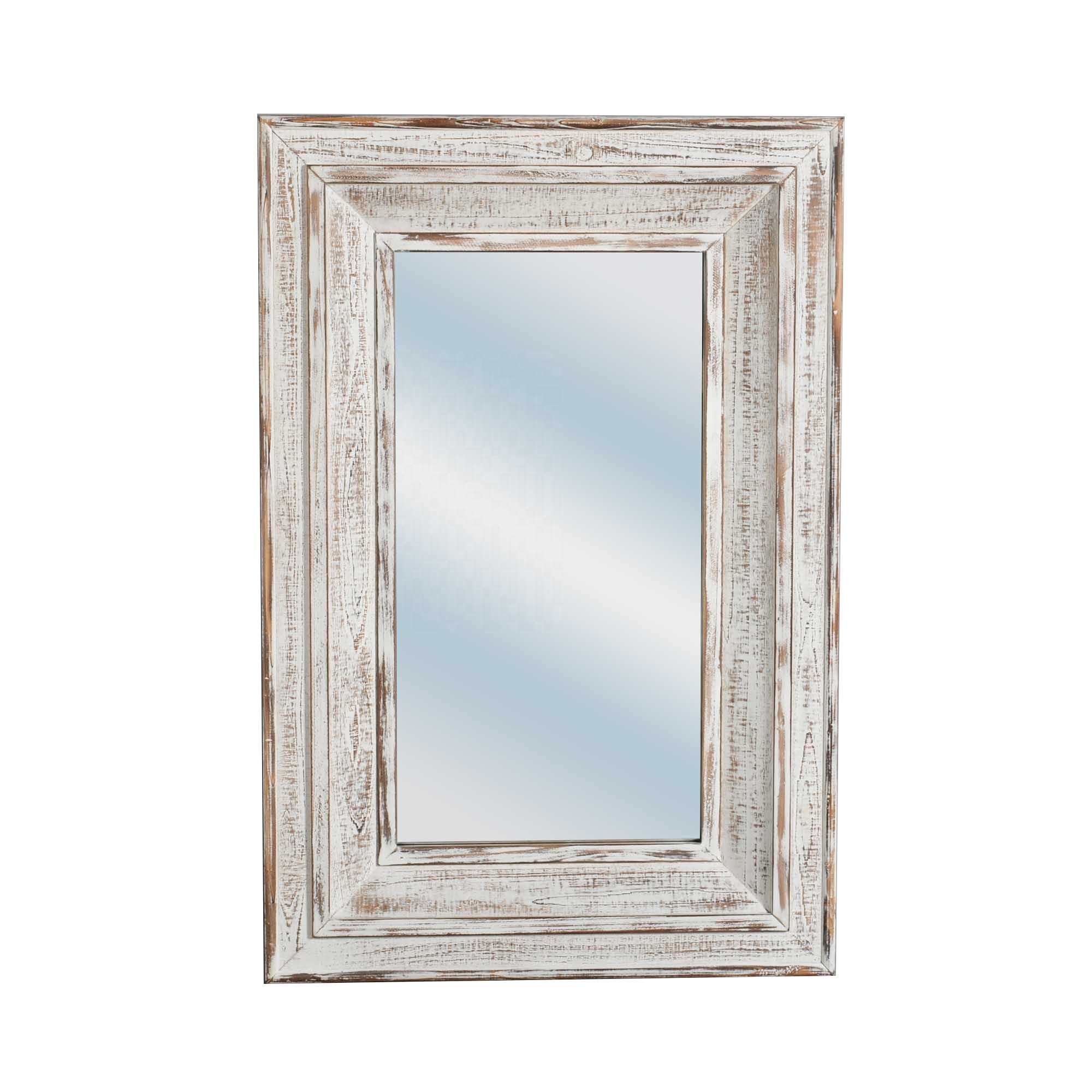 Mayco Wholesale Farmhouse Furniture Decor Antique White Wash Rustic Rectangular Wood Frame Wall Mirror