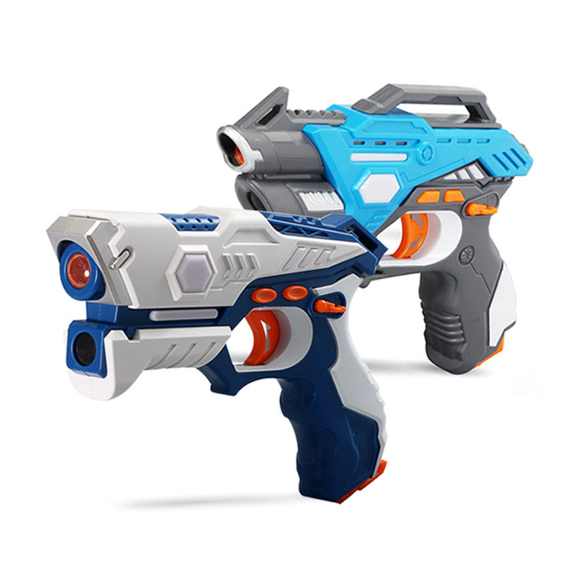 Xiaoboxing family interactive game 2 pieces blue plastic battery operated infrared ray shoot toy gun for boys