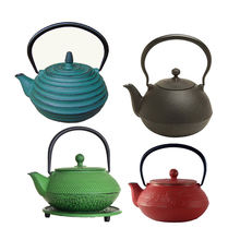 customized Chinese teaware instant hot water kettle Black cast iron teapot with trivet