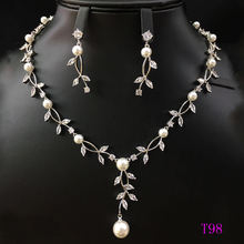 Xuping rhodium plated fashion design women wedding jewellery zircons two pieces pearl jewelry set