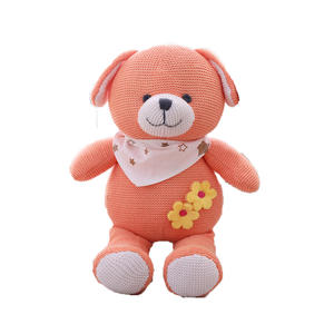 wholesale high quality classic 25cm organic knitted plush blue teddy bear pink rabbit and orange puppy dolls for children