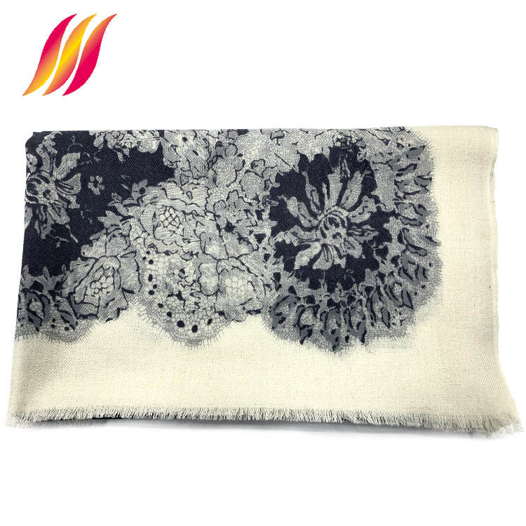 Amazon best seller stock long multi color custom wool floral scarf