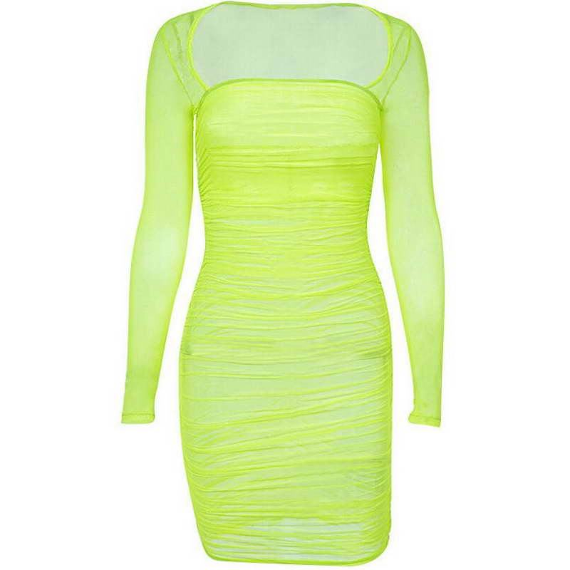 2019 eBay High Quality Mesh Cover Up Beachwear Sexy Solid Color Transparent Long Sleeve Dress