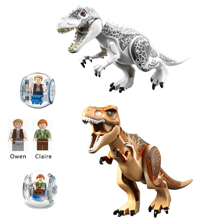 Dinosaur Building Blocks with Backspin Ball and Mini Figure Plastic 3D DIY Kids Blocks Toys Puzzle Toys