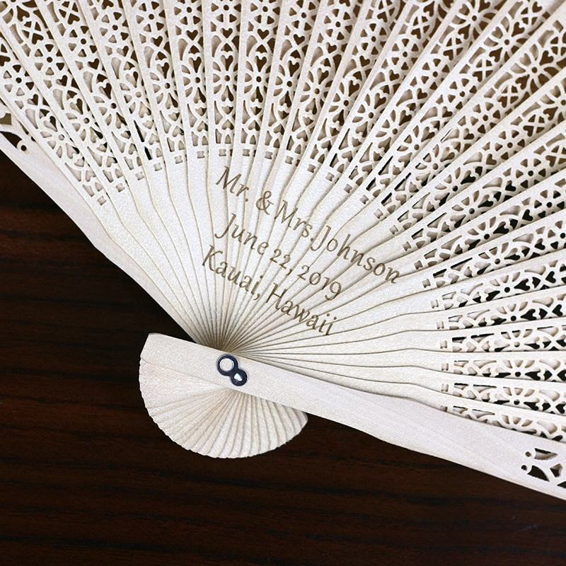Customized carved promotion gift wedding party favor gift Wood Hand Fans