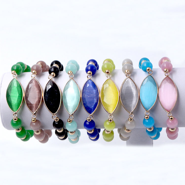 Wholesale High Quality 8mm 10mm 12mm Natural Opal Cat Eye Stone Beads Cuff Bracelet