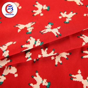 christmas print red printed dog cartoon polyester fabric cloths dress