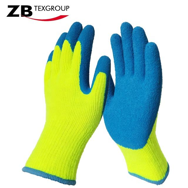 CE 10G wrinkle latex palm coated heavy duty industrial rubber work gloves