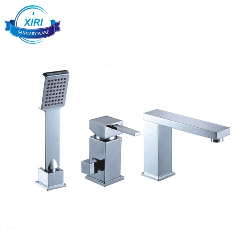 3 pieces square brass massage spa bath tub faucet with square hand shower