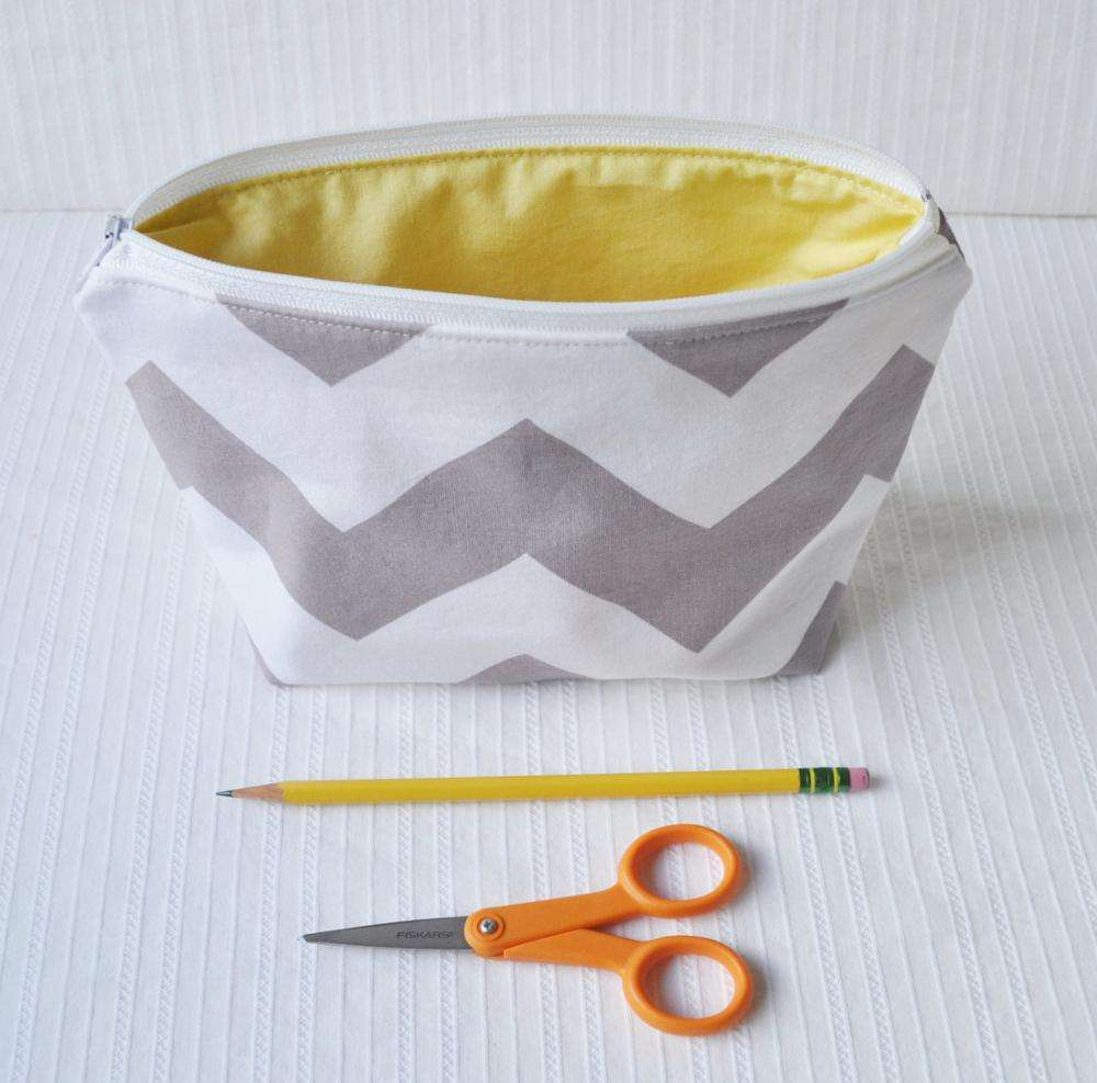Gray Chevron Pouch, makeup bag