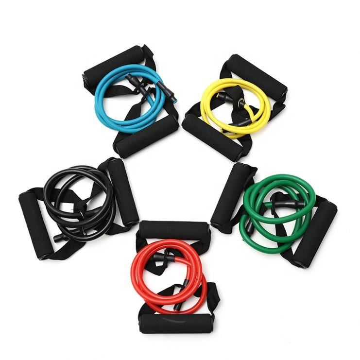 New Design High Quality Fitness Exercise Resistance Bands Tube With Foam Handle With High Quality