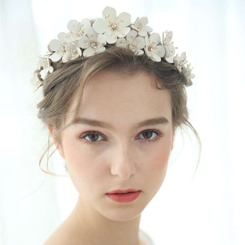 Headpiece Bridal Handmade Crystal Hair Accessories Princess Wedding Crown Tiara