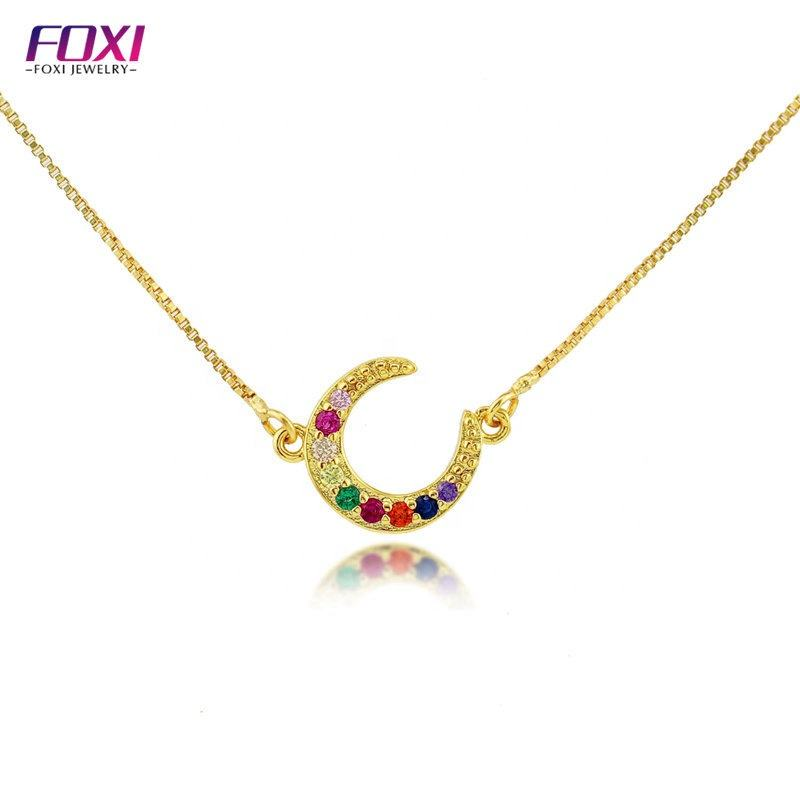 Wuzhou Foxi Gift Moon Colors Zircon Gold Plated Brass Pendants Necklaces Jewelry