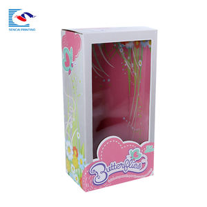 SENCAI wholesale custom printing foldable toy doll gift packing paper box with pvc window