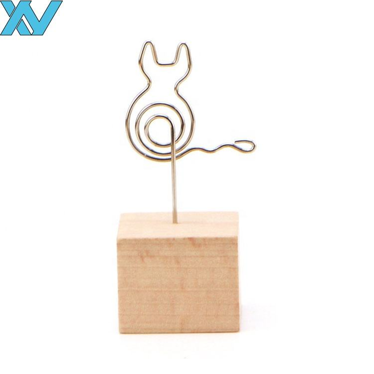 metal wire cat stand memo photo clip card holder cube wooden memo clip