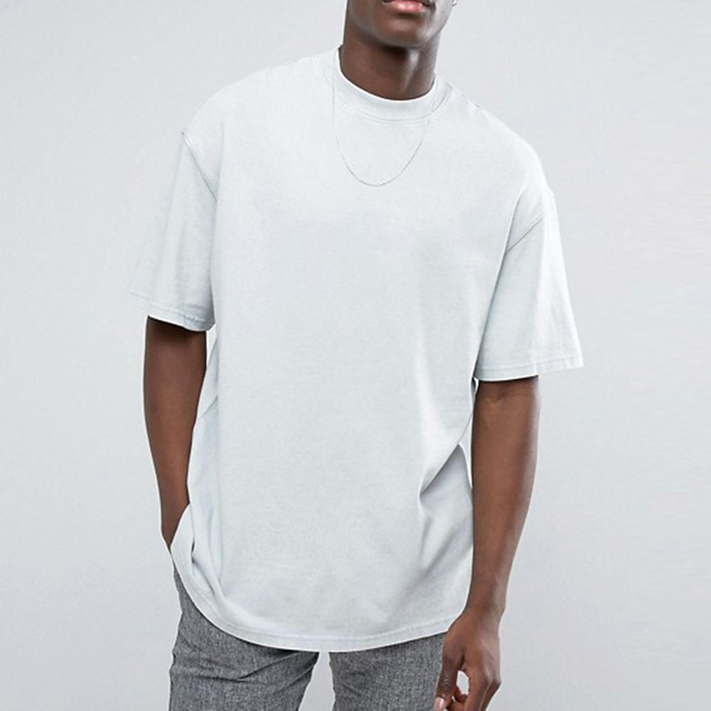 Wholesale Custom 220g Heavier Cotton White Tshirt Dropped Shoulders Blank Plain Oversized Tshirt