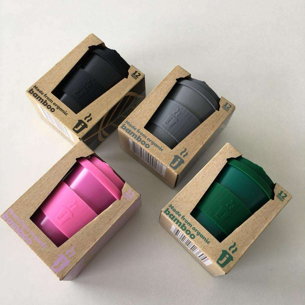Premium Reusable Coffee Cup for Travel To Go 12oz Takeaway Bamboo Mug with Lid & Spill Stopper