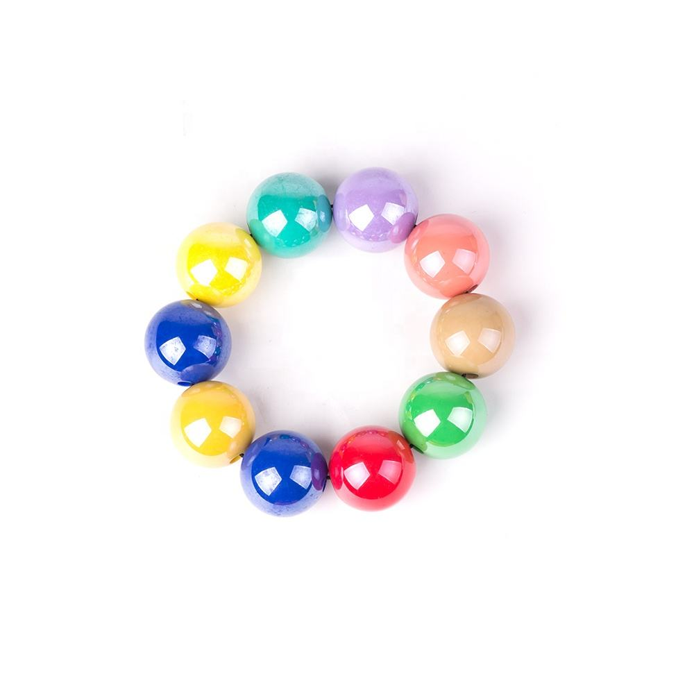 China Supplier Hot Sale Women Design Rainbow Multi Colour Round Beads Acrylic Resin Bead Bracelet