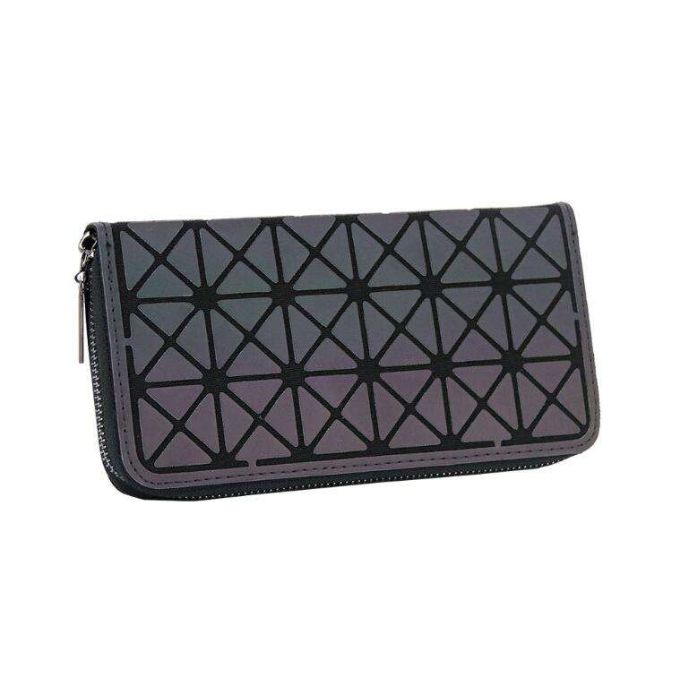 Iridescent Cellphone Handbag Geometric Clutch Wallet Luminous Lattice Purse For Women