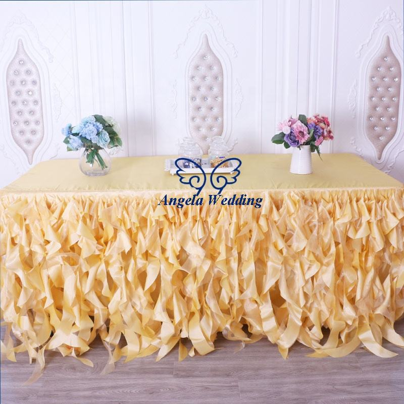 CL01AA popular wedding gold taffeta and organza curly willow table skirt or table cloth