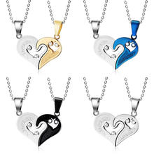 wholesale stainless steel i love you couple necklaces broken heart pendant necklace for couples